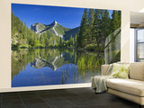 Wind Mountain Reflects in a Beaver Pond in the Lewis and Clark National Forest, Montana, USA Wall Mural – Large by Chuck Haney