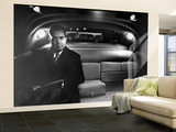 VP Richard Nixon Sitting Solemnly in Back Seat of Dimly Lit Limousine Wall Mural – Large by Hank Walker