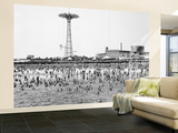 Bathers Enjoying Coney Island Beaches. Parachute Ride and Steeplechase Park Visible in the Rear Wall Mural – Large by Margaret Bourke-White