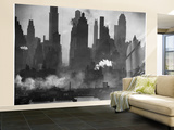 New York Harbor with Its Majestic Silhouette of Skyscrapers Looking Straight Down Bustling 42nd St. Wall Mural – Large by Andreas Feininger