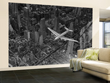 Aerial View of a DC-4 Passenger Plane Flying over Midtown Manhattan Wall Mural – Large by Margaret Bourke-White