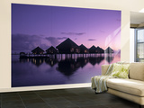 Beach Bungalows, Punaauia, Tahiti, French Polynesia Wall Mural – Large by Walter Bibikow