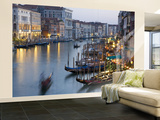 Outlook from Ponte Di Rialto Along Grand Canal at Dusk Wall Mural – Large by David Tomlinson