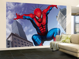 Spider-Man Jumping In the City Wall Mural – Large