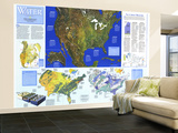 1993 Water Precious Resource Map Wall Mural – Large