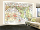 1927 Maryland, Delaware and District of Columbia Map Wall Mural – Large