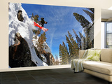 Skier Jumping Off Small Cliff at Brighton Ski Resort Wall Mural – Large by Paul Kennedy