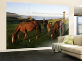 Horses Grazing in Front of Ahu Vai Uri, Tahai and Ko Te Riku Wall Mural – Large by Paul Kennedy