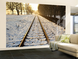 Train Tracks in Snow in Winter Wall Mural  Large by Richard l&#39;Anson