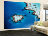 Heart-Shaped Reef, Hardy Reef, Near Whitsunday Islands, Great Barrier Reef, Queensland, Australia Wall Mural – Large by Holger Leue