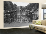 Bicycle Leaning Against a Metal Railing on a Bridge, Amsterdam, Netherlands Wall Mural – Large