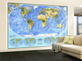 1994 World Physical Map Wall Mural – Large
