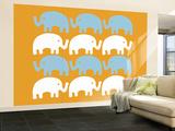 Orange Elephant Family Wall Mural – Large by  Avalisa