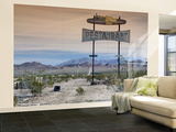 Old Restaurant Sign at Route 66 Near Chambless with Marble Mountains in Distance Wall Mural – Large by Witold Skrypczak