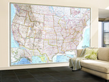 1968 United States Map Wall Mural – Large