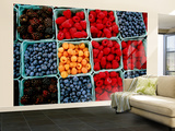 Raspberry, Blueberry and Blackberry Punnets at Farmers Market Wall Mural – Large by Hanan Isachar