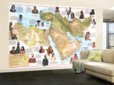 1972 Peoples of the Middle East Map Wall Mural – Large