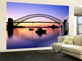 Harbour Bridge at Dawn, Seen from Blue Point, Boats in Foreground are Moored at Lavender Bay Wall Mural – Large by Ross Barnett