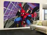 Spider-Man Swinging through the City Wall Mural – Large