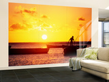 Boats on Sea at Sunset Wall Mural  Large by Tom Cockrem