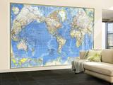 1970 World Map Vægplakat, stor af National Geographic Maps