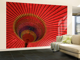 Traditional Red Japanese Paper Umbrella Wall Mural – Large by Rachel Lewis