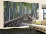 Stairway Through Bamboo Grove Above Adashino Nembutsu-Ji Temple Wall Mural  Large by Brent Winebrenner
