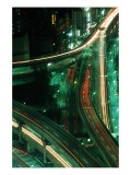 Nighttime Aerial View of Freeways and Traffic Motion, Tokyo, Japan Photographic Print