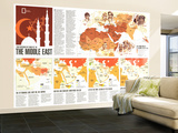 1980 Two Centuries of Conflict in the Middle East Map Wall Mural – Large