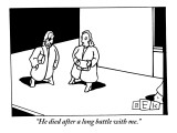 """He died after a long battle with me."" - New Yorker Cartoon Premium Giclee Print by Bruce Eric Kaplan"