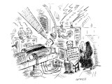 Dr. Frankenstein reading a pregnancy book with Frankenstein's monster on t… - New Yorker Cartoon Premium Giclee Print by David Sipress