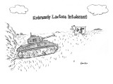 "A cow in a pasture watches as a tank approaches. ""Extremely Lactose Intole… - New Yorker Cartoon Premium Giclee Print by Ken Krimstein"