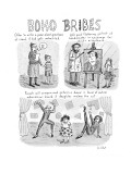 Three panel cartoon about what boho parents could do to get their child ad… - New Yorker Cartoon Premium Giclee Print by Roz Chast