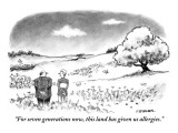 """""""For seven generations now, this land has given us allergies."""" - New Yorker Cartoon Premium Giclee Print by Pat Byrnes"""