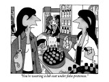 """You're wearing a lab coat under false pretenses."" - New Yorker Cartoon Premium Giclee Print by William Haefeli"