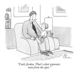 """Cash, Jordan. That's what separates man from the apes."" - New Yorker Cartoon Premium Giclee Print by Leo Cullum"