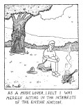 Man burning guitar. - New Yorker Cartoon Premium Giclee Print by Glen Baxter