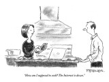 """How am I supposed to cook? The Internet is down."" - New Yorker Cartoon Premium Giclee Print by Pat Byrnes"