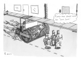 Steam roller driving behind a marching band. - New Yorker Cartoon Premium Giclee Print by Zachary Kanin