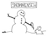 """Snowmensch"" Snowman hands his carrot nose to a rabbit. - New Yorker Cartoon Premium Giclee Print by Ariel Molvig"