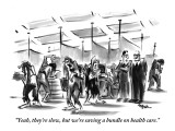 """Yeah, they're slow, but we're saving a bundle on health care.""  - New Yorker Cartoon Premium Giclee Print by Lee Lorenz"