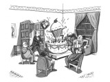 A group of overweight gentlemen are sitting in a circle watching a giant c… - New Yorker Cartoon Premium Giclee Print by Zachary Kanin