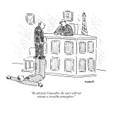 """Be advised, Counsellor, the court will not tolerate a circuslike atmosphere."" - New Yorker Cartoon Premium Giclee Print by Robert Mankoff"