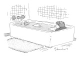 A man takes a bath. There is a nest full of eggs on his head and a rubber … - New Yorker Cartoon Premium Giclee Print by Danny Shanahan