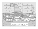"""Mafia-themed organizing compartments are stacked in a basement. Labels: """"U… - New Yorker Cartoon Premium Giclee Print by Kim Warp"""