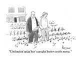 """ 'Unlimited salad bar' sounded better on the menu."" - New Yorker Cartoon Premium Giclee Print by John Klossner"