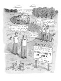 Groups of construction workers paralyzed over getting a new road just perf… - New Yorker Cartoon Premium Giclee Print by Roz Chast