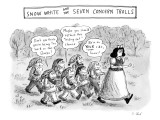 Snow White is storming away from a group of seven trolls who are following… - New Yorker Cartoon Premium Giclee Print by Roz Chast