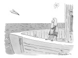 A man stands on a boat staring at an incoming paper airplane. - New Yorker Cartoon Premium Giclee Print by Danny Shanahan