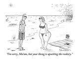 """I'm sorry, Ma'am, but your thong is upsetting the rookery."" - New Yorker Cartoon Premium Giclee Print by Danny Shanahan"